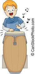 Kid Boy Conga - Illustration of a Little Boy Playing with a...