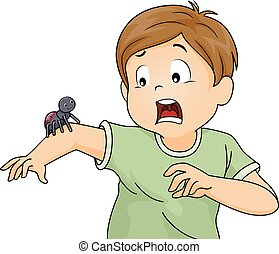 Kid Boy Scared Spider