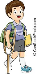 Kid Boy Student Crutch - Illustration of an Injured Boy...