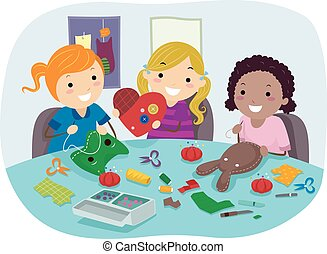 Stickman Kids Sewing Party Crafts Girls