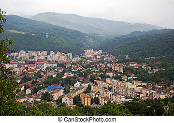 Aerial view of one part at the city of Resita, Romania.