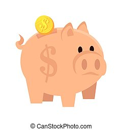 piggy moneybox coin save money economy cartoon vector...