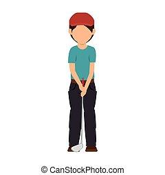 golf player cartoon - golf player sport game stick cap...