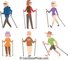 Nordic walking sport vector people - Group of nordic walkers...