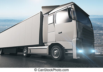 Grey truck with empty trailer