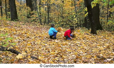 Two kids collecting autumn leaves
