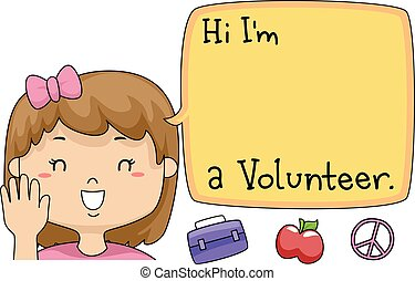 Kid Girl Volunteer Speech Bubble - Illustration of a Young...