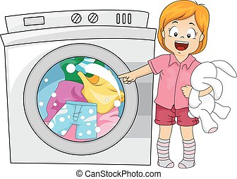 Kid Girl Washing Machine - Illustration of a Little Girl...