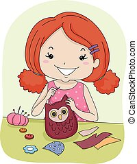 Kid Girl Sew Owl Pattern - Illustration of a Little Girl...
