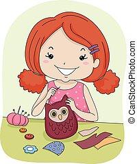 Kid Girl Sew Owl Pattern - Illustration of a Little Girl...