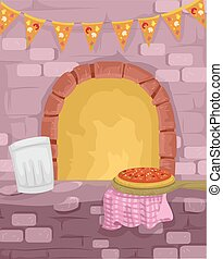 Pizza Oven - Illustration of a Pizza Being Cooked in a...