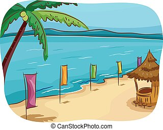 Tropical Beach - Illustration of a Tropical Beach Lined Up...