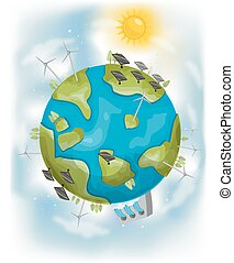 Earth Renewable Energy - Illustration Featuring Different...