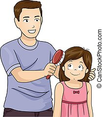 Kid Girl Dad Brush Hair - Illustration of a Father Brushing...