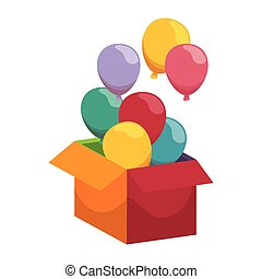 open box with colorful balloons