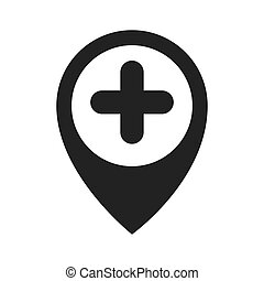 map pin plus sign - map pin hospital sign direction marker...