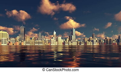 Modern big city view from water at sunset 4K - Scenic view...