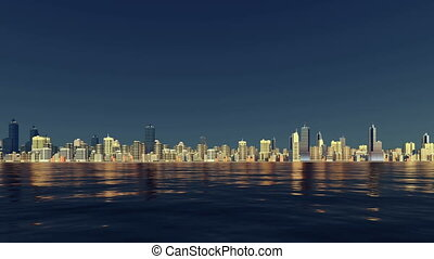 City skyline reflected in water - Abstract city downtown...