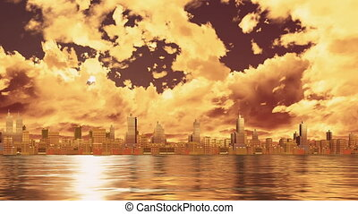 City skyline view from water at sunset Time lapse - Dramatic...