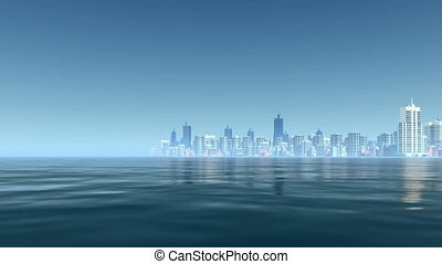 Abstract city downtown bay view 4K - Abstract modern city...
