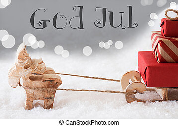 Reindeer With Sled, Silver Background, God Jul Means Merry...