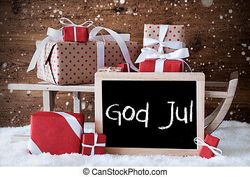 Sleigh With Gifts, Snow, Snowflakes, God Jul Means Merry...