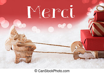 Reindeer With Sled, Red Background, Merci Means Thank You -...
