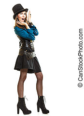 Cool girl in steampunk style - Young shocked steampunk...