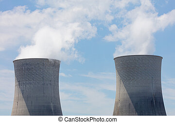 Two Cooling Towers - Two cooling towers at a nuclear power...