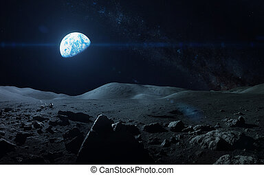 View of Earth from moon. Elements of this image furnished by...