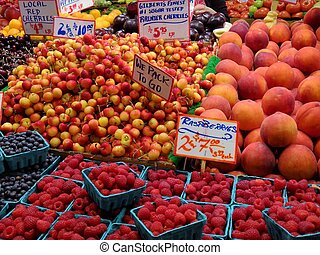 Fresh fruit and vegetables at Pike Place Market in Seattle.