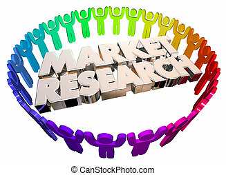 Market Research People Study Survey Customers 3d...