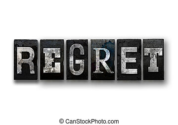 regret, concept, isolé, Letterpress, type