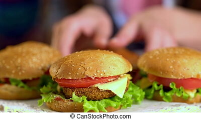 Group of hamburger fast food. - Hamburger fast food with ham...