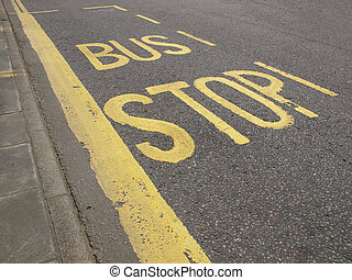 Bus stop sign - Sign of a bus stop in a road or street