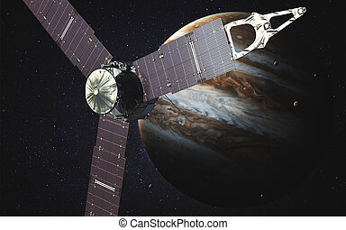 Juno sattelite orbiting Jupiter. Elements of this image...