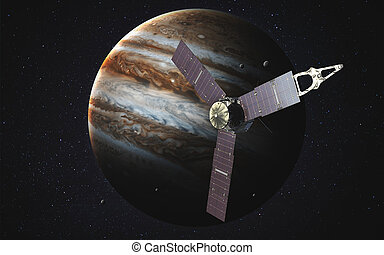 Juno spacecraft and Jupiter Elements of this image furnished...