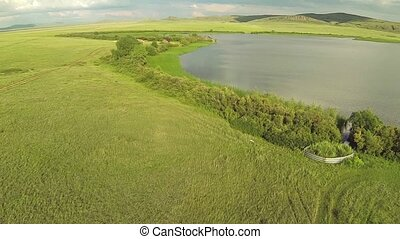 Aerial view of in the steppe with lake of Kazakhstan.
