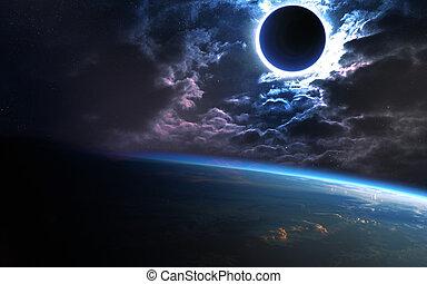 Extracto, Científico, Plano de fondo, -, planeta, en,...