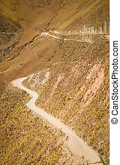 Andean road - Andean dirt road winding high up in Salta...