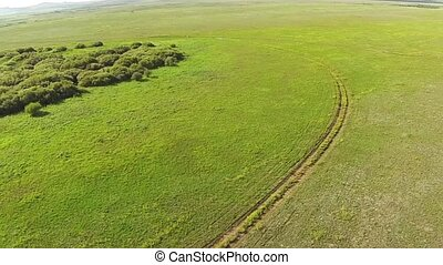 Aerial view of in the steppe with road of Kazakhstan.
