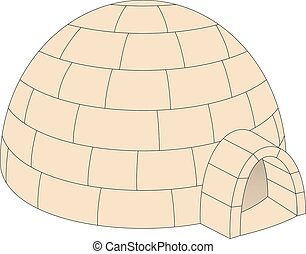 Igloo in light brown design on white background