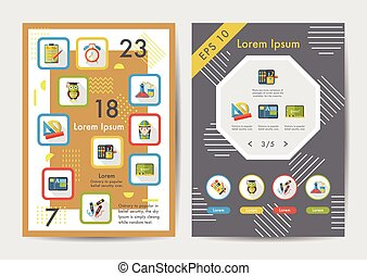 School icons set with long shadow,eps10