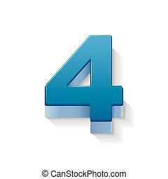 3d shiny blue number 4 - 3D image shiny blue number 4...