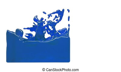 turbulent blue liquid filling a container. sirup - turbulent...