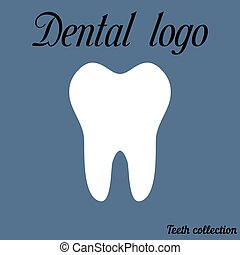 Dental logo simple cartoon white tooth silhouette, teeth,...