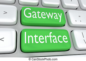Gateway Interface concept - 3D illustration of computer...