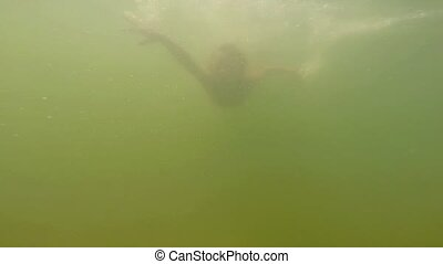 Girl is swiming in the water - Child dived and swims...