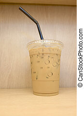 Take-home cup of ice coffee - Cold coffee refreshment drink...