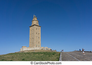 Tower of Hercules - The Tower of Hercules with blue sky. The...